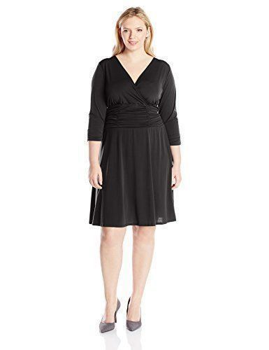 Ny Collection Women Stretch Black Ruched Empire Waist A-Line Dress Size Plus 1X #NYCollection #ALineEmpireWaist #Casual