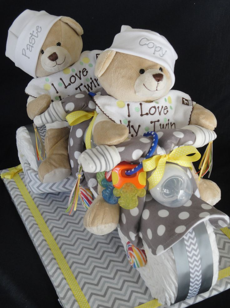 Twins Diaper Cake - Tricycle Built for Two. www.facebook.com/DiaperCakesbyDiana