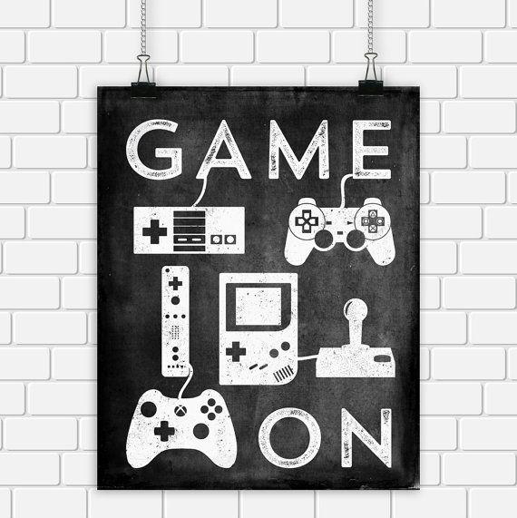 Video Game Printable Art Typography Game by DigitalDriveInToo