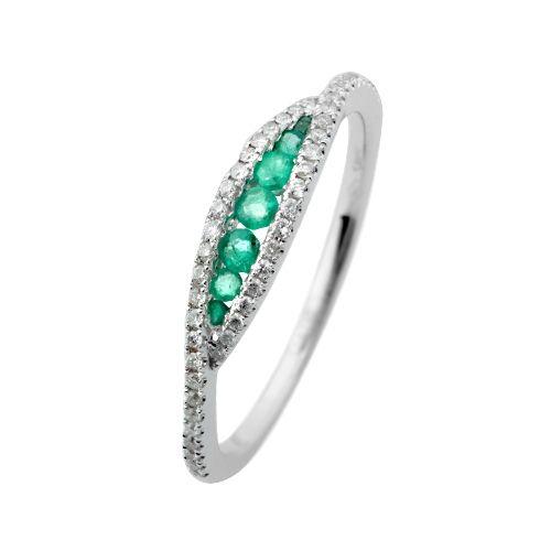 Inel cu diamante si smaralde C129