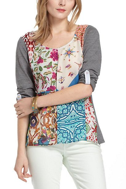 Patchwork Top #anthropologie  $88  polyester/cotton knit.  cotton knit sleeves, back, except back yoke polyester like tabs on sleeves.  There is a pleat in middle of back attached to yoke - ALSO No-Apology