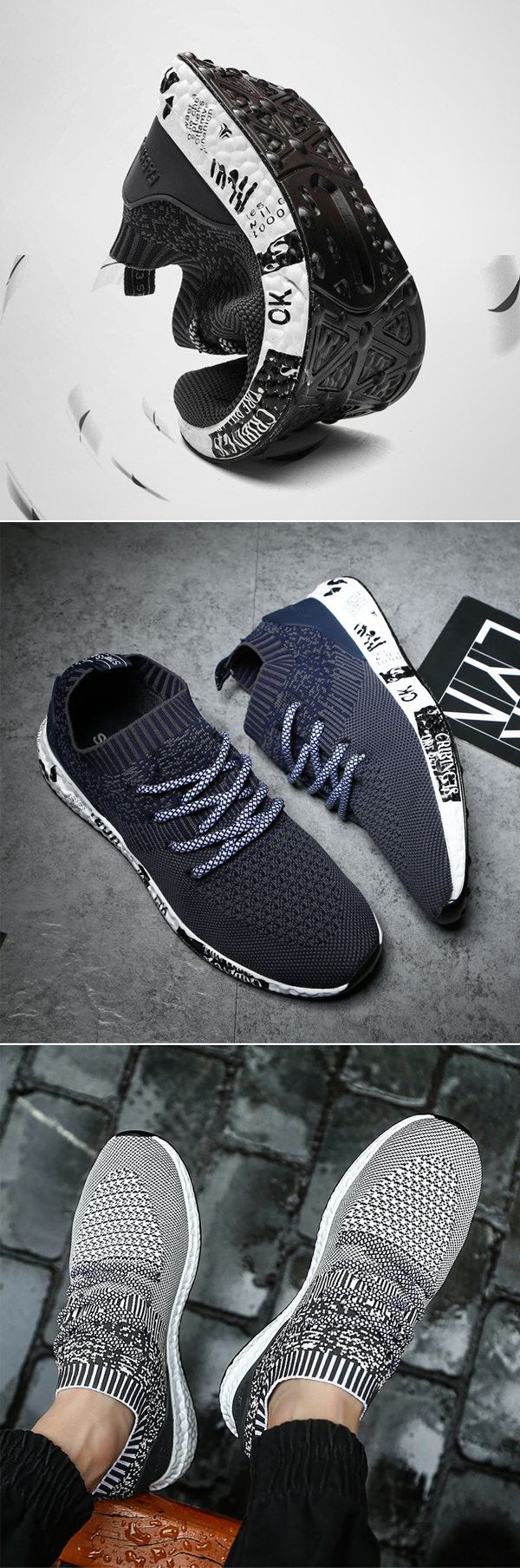 US$38.25#Men Elastic Flyknit Fabric Light Running Sneakers Lace Up Casual Sneakers