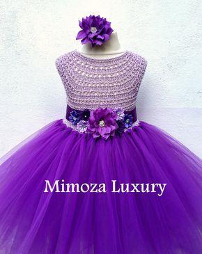 Púrpura flor vestido de niña vestido de Dama de por MimozaLuxury