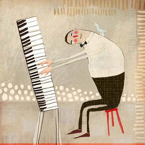 in concert, crooked pianist and bird give concert, digitall collage Red Cheeks Factory
