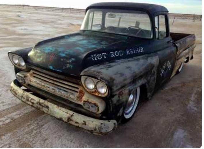 1958 1959 Chevy Fleetside quad headlight pickup truck Rat Rod