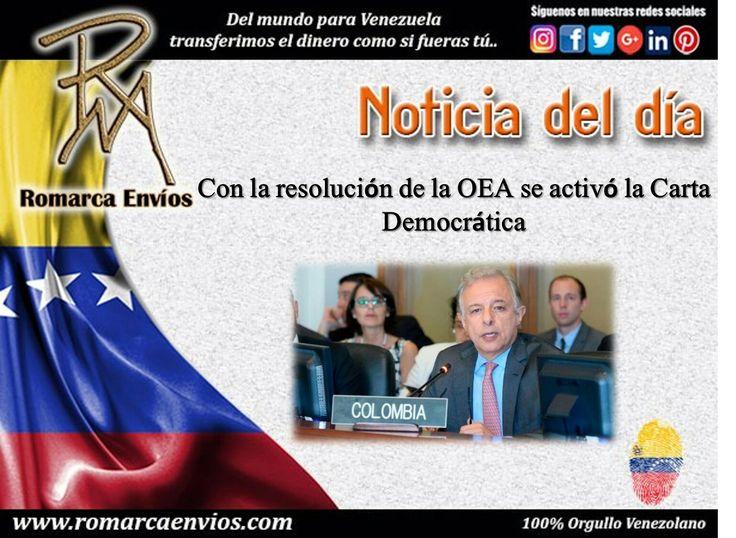 El embajador de Colombia, Andrés González Díaz, señaló que viene una etapa de negociaciones para solucionar la crisis.  Fuente:  http://www.el-nacional.com/noticias/politica/con-resolucion-oea-activo-carta-democratica_88998 Nuestra #TasaDeCambio a las 8:00am h Este #USA es de 3317Bsf/€ 3118Bsf/$ 👉🏻Nuestro sitio web www.romarcaenvios.com ya se encuentra disponible para hacer sus #TransferenciasDeDinero #Francia #Italia #España #Rusia #Polonia #Portugal