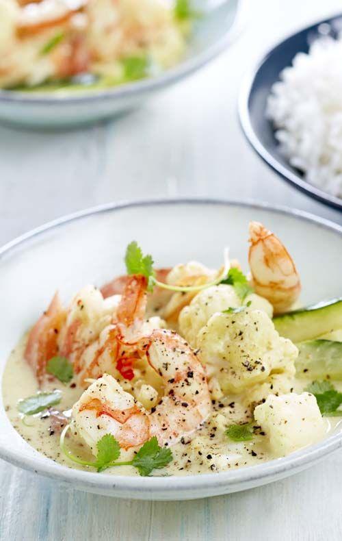 Curry van gamba's met bloemkool en courgette - Colruyt culinair !