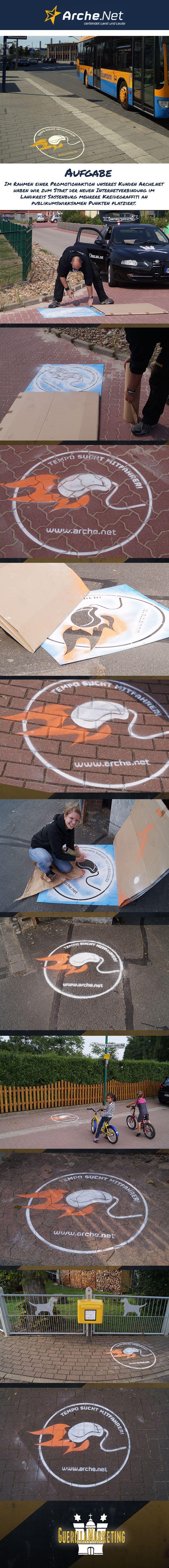 Im Rahmen einer #Promotionaktion unseres Kunden Arche.net haben wir zum Start der neuen Internetverbindung im Landkreis Sassenburg mehrere #Kreidegraffiti an publikumswirksamen Punkten platziert | #outdoor  #guerrilla #marketing #public  #creative #chalk #guerillamarketing #guerilla #btl #streetbranding < implemented and pinned by www.GuerillaMarketing-Hamburg.de a project of www.BlickeDeeler.de