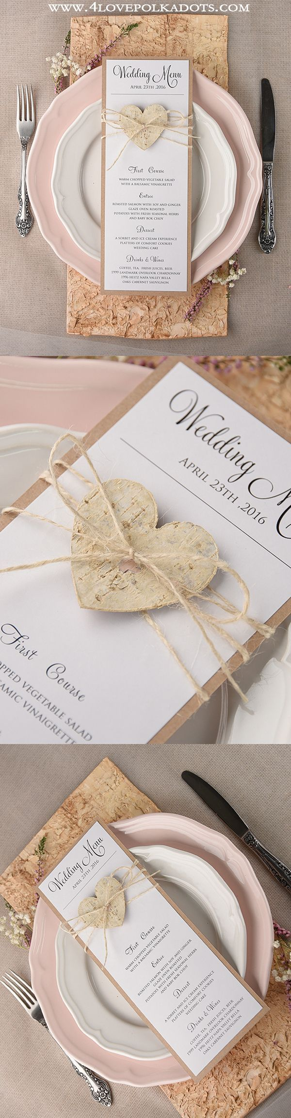 Rustic Wedding Menu #weddingideas #menucards