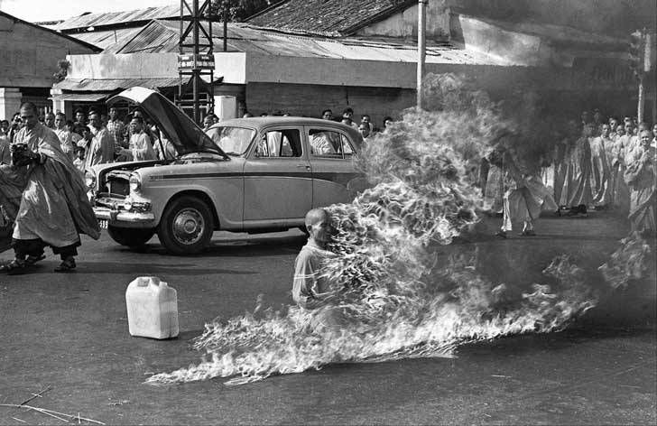 The June 11, 1963, this Buddhist monk burned to protest the oppression that the government of Ngo Dinh Diem had on Buddhism in Vietnam. This photo won a Pulitzer Prize and was the cover of the first...