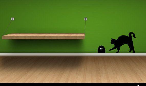 adesivo gatto con tana topo di Tmaniashop su Etsy, €7,00