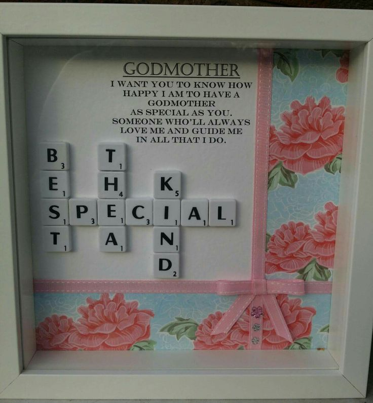Godmother gift, scrabble letter frame with pink roses on blue background, pink ribbon and bow Godmother poem. https://www.facebook.com/Thorny-Tree-Gifts-972127826132391/