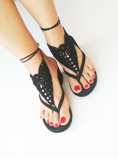 Gothic black Barefoot Sandals, Nude shoes, Foot jewelry, Wedding, Vict