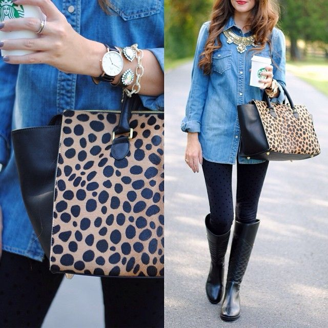 Click the photo to shop the look | Caitlin of Southern Curls And Pearls wearing Tory Burch black boots, Loren Hope jeweled cuff, Clare V leopard tote, Daniel Wellington watch, J.Crew denim shirt, David Yurman ring, and J.Crew black dotted pants  | Follow @liketoknowit on Pinterest for more outfit inspiration #liketkit