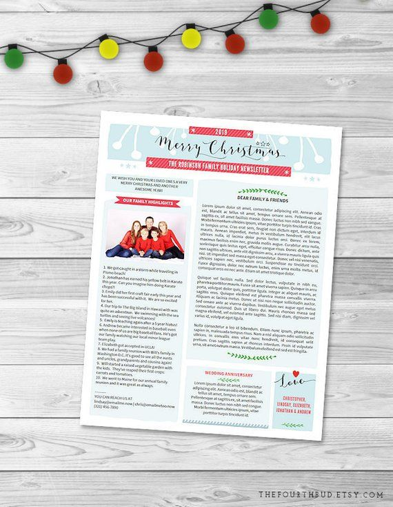 Christmas Newsletter Template in PDF For Print / \