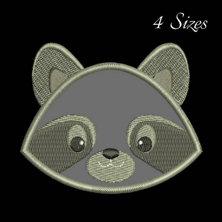 Raccon applique embroidery designs animals design machine pattern in the hoop pes files instant digital download by SvgEmbroideryDesign on Etsy