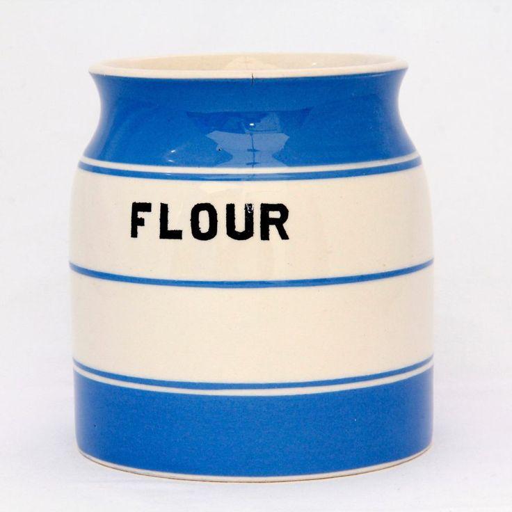 Storage Jar Flour Blue & White Kitch Ware Price Bros Vintage Cornishware Style