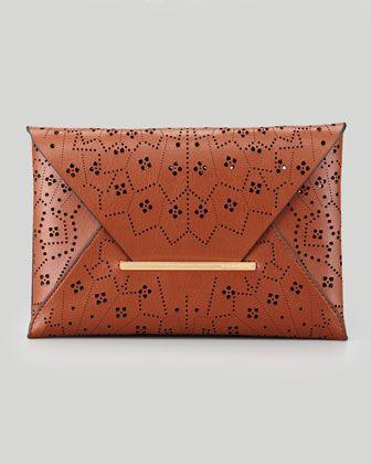 BCBGMAXAZRIA Harlow Laser-Cut Envelope Clutch Bag, Cognac - Neiman Marcus