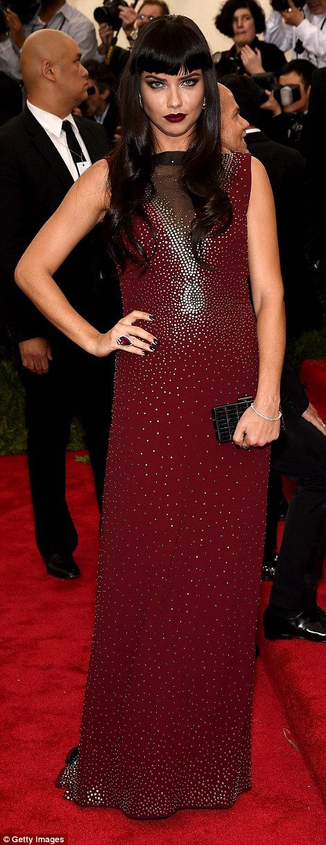 Red carpet pro: Adriana Lima also made an appearance at the star-studded event, wearing a beautiful burgundy Marc Jacobs design