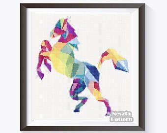 Poligonal Horse Cross Stitch Pattern, Polygonal Horse x stitch pattern, colorfull Cross stitch Embroidery, Embroidery pattern