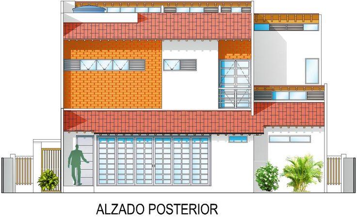 Casa G+A: Alzado posterior (Oeste) / G+A House: Rear facade (West).