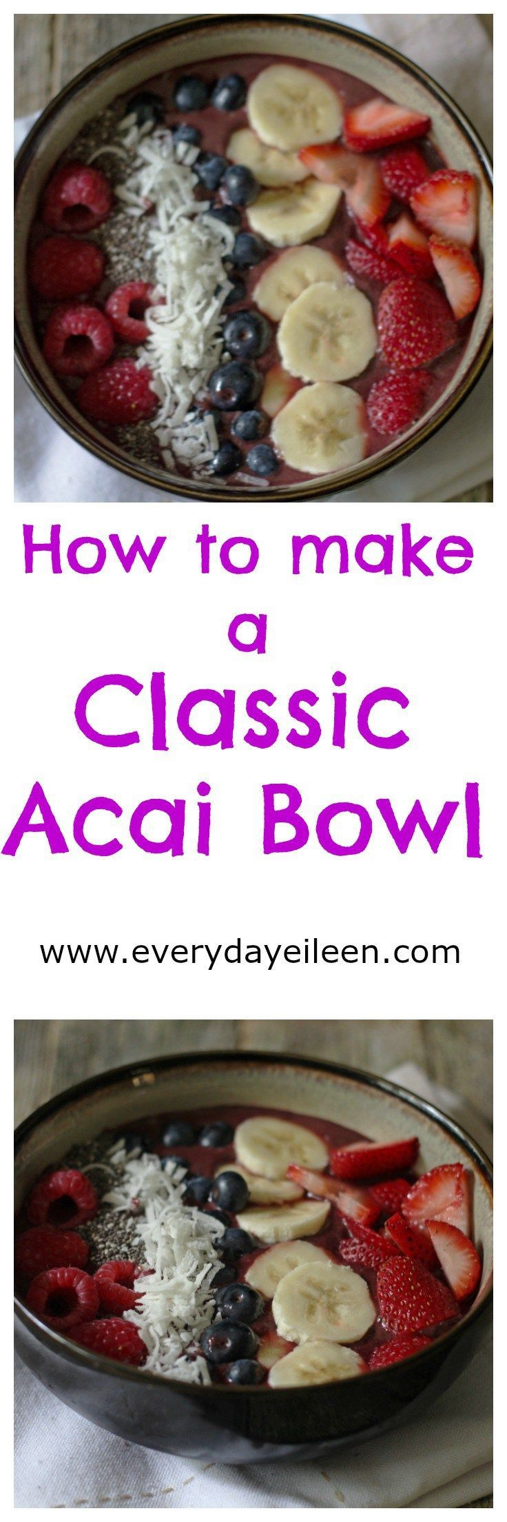 Make a classic Acai Bowl full of nutrients and antioxidants! Save money and control all ingredients by making your own. low-calorie, low-fat, low-carb, vegan