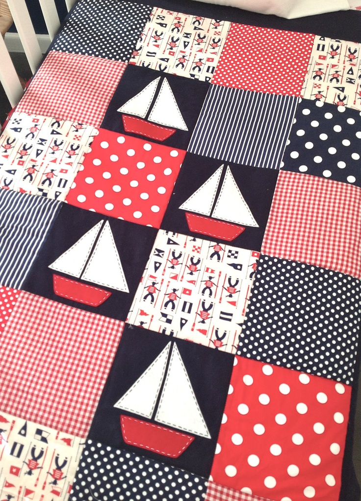 Sailing Boat Crib Set , Baby boy quilt and two matching cushion covers...Ready to ship. $210.00, via Etsy.