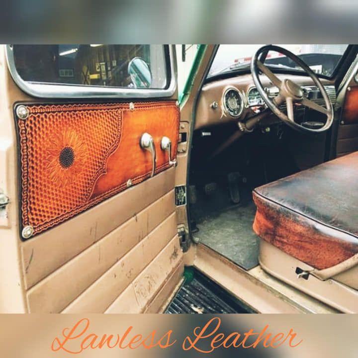 Truck Interior Door Panels In Tooled Leather Truck Interior Farm Trucks Leather Tooling