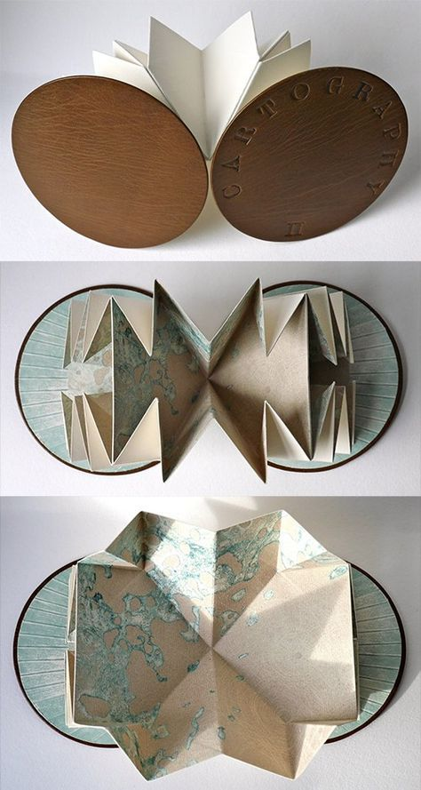 Louisa Boyd |Cartography | A Turkish map-fold book with etched pages, hand tooled leather cover and collagraph end papers. Her books are all very sculptural