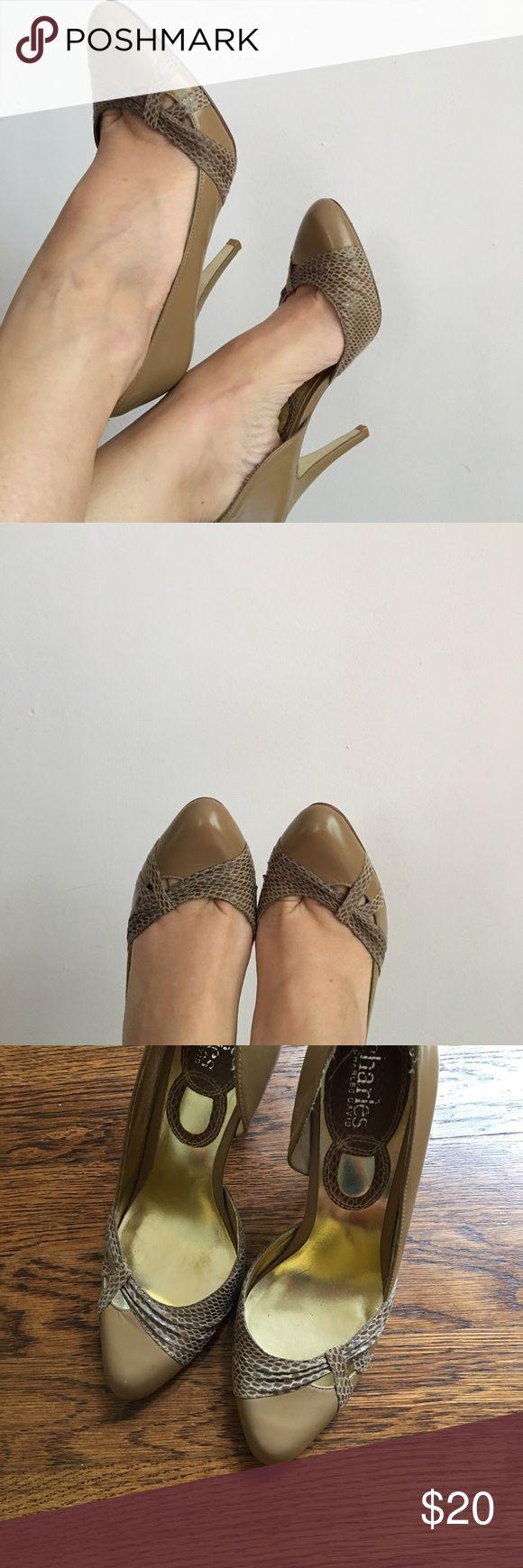 Charles David nude heels. Size 6. Leather! Beautiful Charles David heels. Nude leather. Size 6. Super sexy. Charles David Shoes Heels