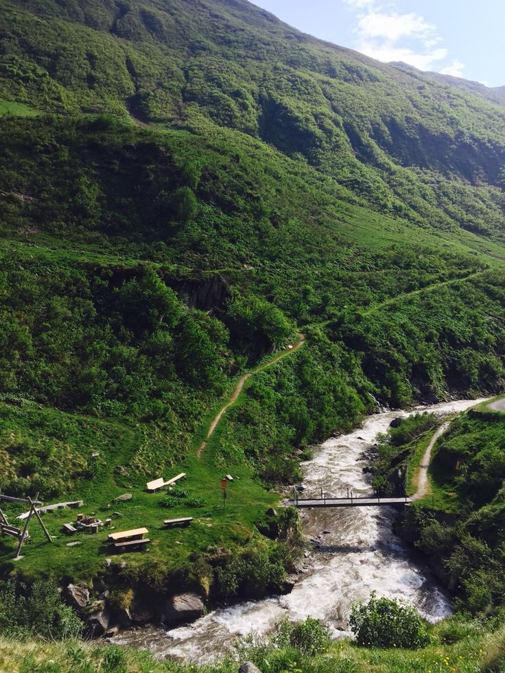 """Bridge over the Unteralp Valley with  """"Swiss family campfire ground"""". Legal to make open fire for some outdoor BBQ."""