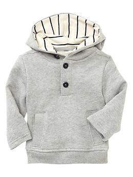 French terry popover hoodie | Gap  Baby gap is a little more expensive, but sometimes you just gotta.  :)  $23.99 and it is precious on your little man.  Very nice quality.