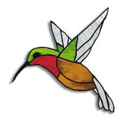Free stained glass Pattern, Rufus The Hummer hummingbird