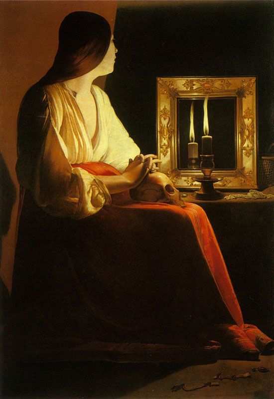 """The Penitent Magdalene"" by  George de La Tour. An old favorite of mine, but I don't like the other two versions."