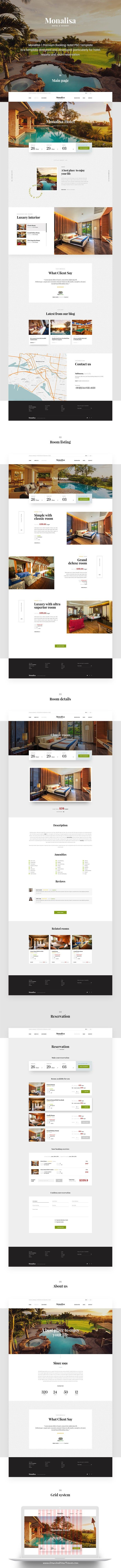 Monalisa is modern and elegant premium #PSD Template designed for #hotel, #resorts and room reservation website download now➯ https://themeforest.net/item/monalisa-premium-booking-hotel-psd-template/16889515?ref=Datasata