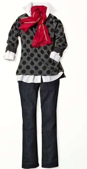 Coldwater Creek- super soft polka dot sweatshirt