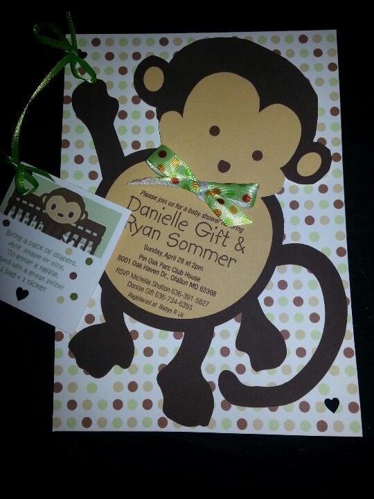 Cutest monkey baby shower invitation