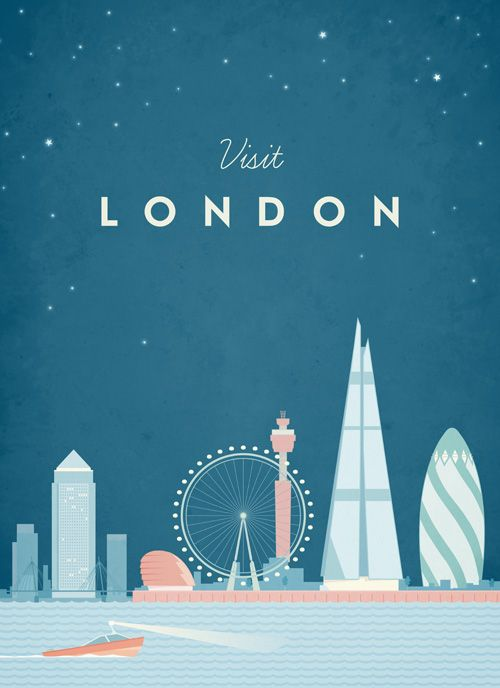 Vintage style travel poster of London. An original illustration for Travel Poster Co. by Henry Rivers.