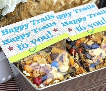 """Happy Trails to You"" Trail Mix Treat Bag Idea - cute for a going away or retirement party favor"