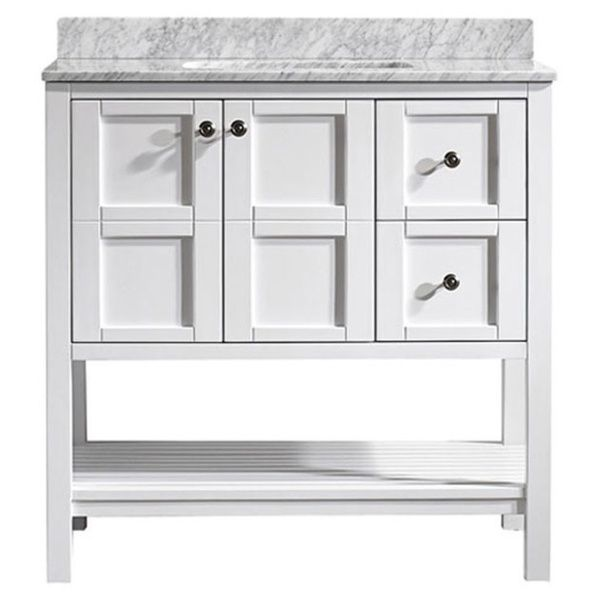 Web Photo Gallery Vinnova Florence inch White Mirrorless Single Vanity with Carrara White Marble Top in White Size Single Vanities