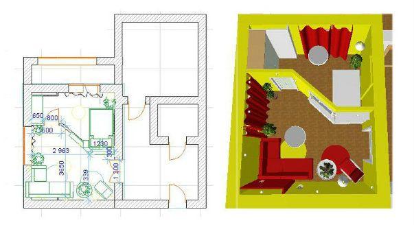 Спальня и гостиная в одной комнате - неровная перегородка (изгиб)
