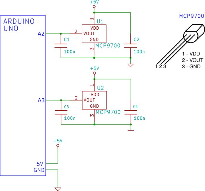 Schematic circuit digram of two MCP9700 temperature sensors connected to the Arduino and Ethernet shield.