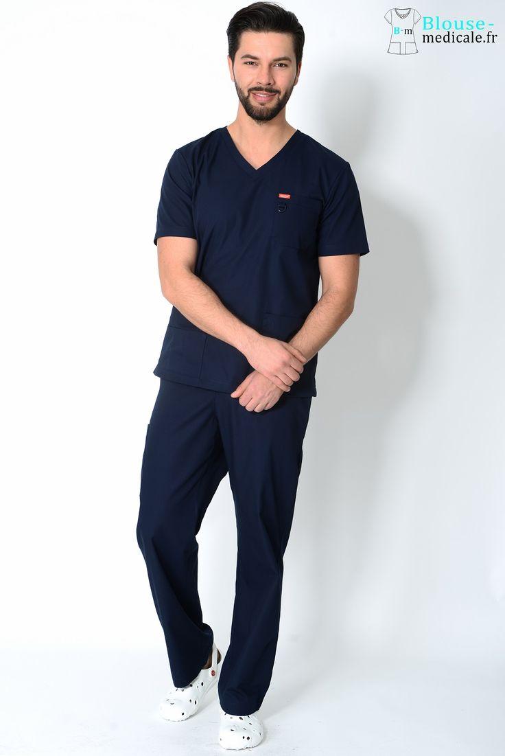 tenue médicale unisexe Orange bleu marine