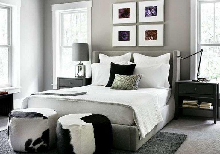 Idee per le pareti della camera da letto - Camera con pareti grigie