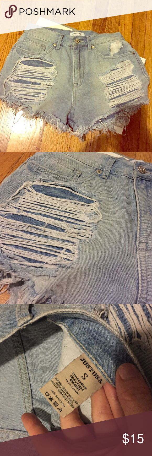 Just USA size small distressed high waisted short Super light wash and super distressed denim Just usa Shorts Jean Shorts