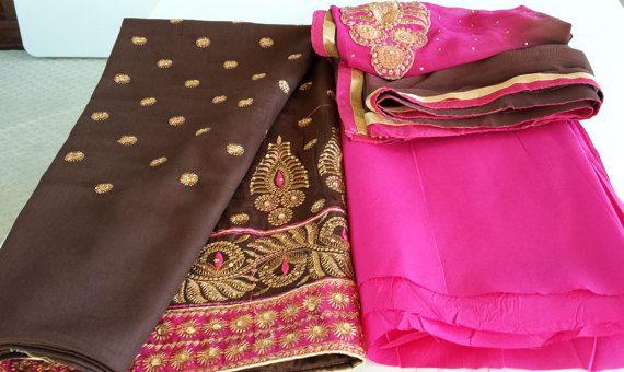 Churidar Salwar Kameez / Salwar costume/marron et rose