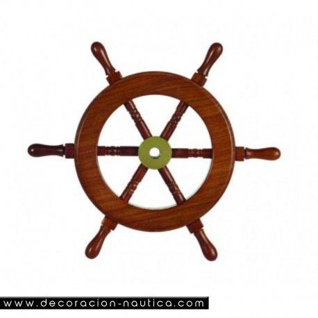 TIMONES DECORATIVOS Pack de 2 timónes decorativos con seis brazos realizada en madera de palisandro con el buje central en latón.   Medidas: Alto:23.00 x Largo:23.00 x Ancho:2.00 cm.