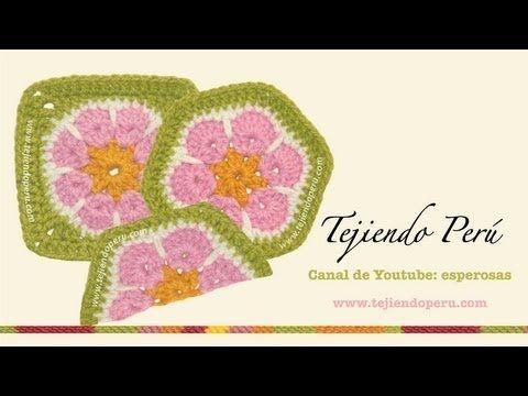 Cómo tejer una flor africana (african flower) a crochet: hexágono, cuadrado y medio hexágono - YouTube