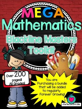 MEGA  Mathematics Blackline Masters Toolkit!... by For the love of it | Teachers Pay Teachers