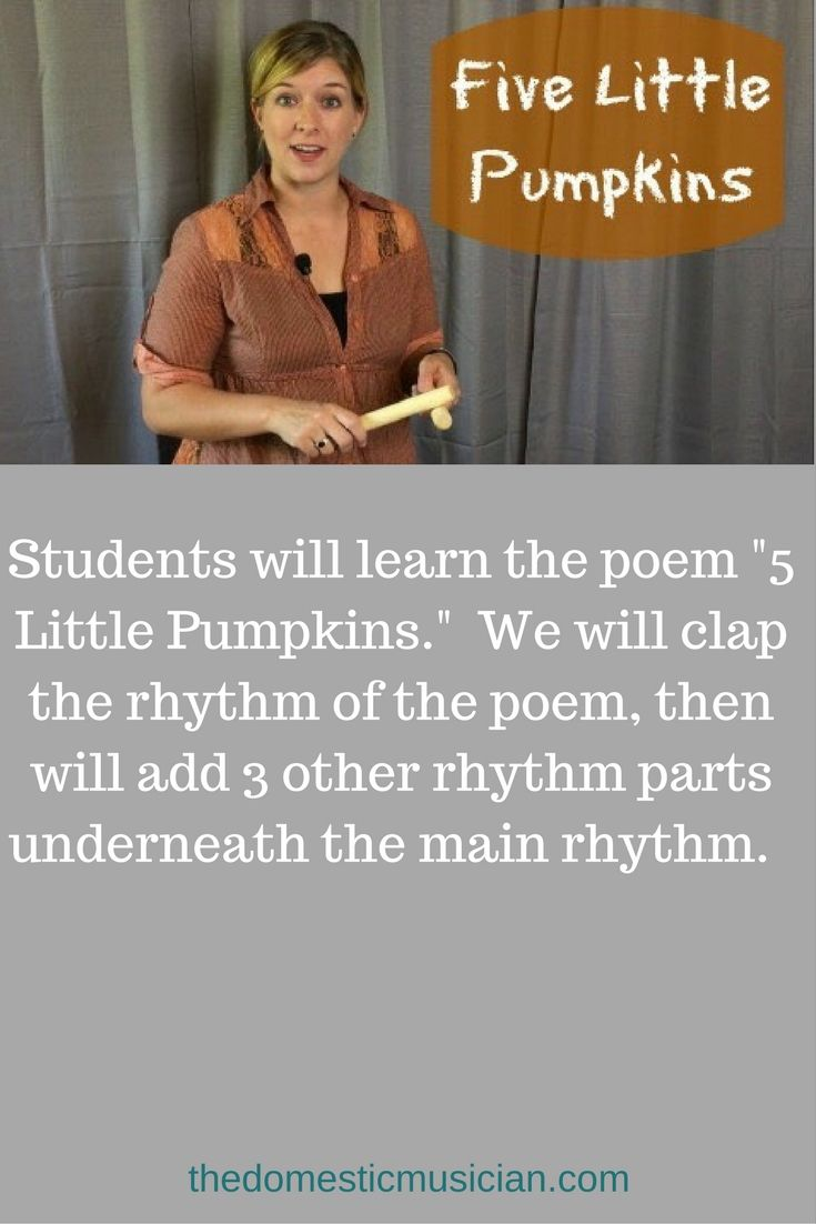 "Online music lessons for kids with this elementary music education lesson ""Five Little Pumpkins"" for your homeschool or classroom music."